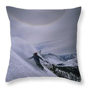 Snowboarding Down A Peak In Yosemite Throw Pillow