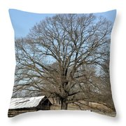 Snowcapped Tobacco Shed Throw Pillow