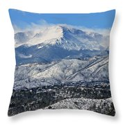 Snowcovered Pikes Peak Throw Pillow