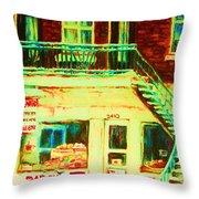 Snowcovered Steps Throw Pillow