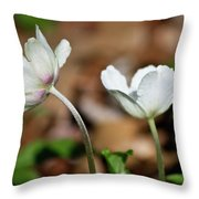 Snowdrop Anemones Throw Pillow