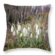 Snowdrops In The Garden Of Spring Rain 3 Throw Pillow