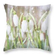 Snowdrops In The Garden Of Spring Rain 4 Throw Pillow