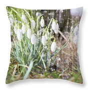 Snowdrops In The Garden Of Spring Rain 7 Throw Pillow