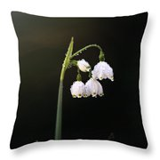 Snowdrops In Water Throw Pillow