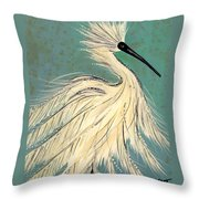 Snowey Egret Tropical Throw Pillow