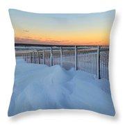 Snowfall At The Shore Throw Pillow