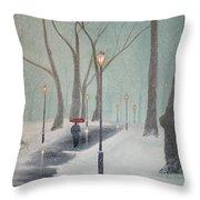 Snowfall In The Park Throw Pillow