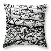 Snowfall On Branches Throw Pillow