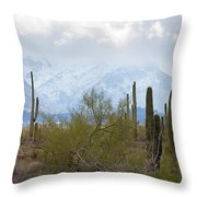 Snowfall On The Mountains Throw Pillow