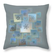 Snowflake Collage - Bright Crystals 2012-2014 Throw Pillow by Alexey Kljatov