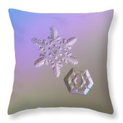 Snowflake Photo - Two Hearts Throw Pillow by Alexey Kljatov