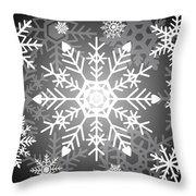 Snowflakes Black And White Throw Pillow
