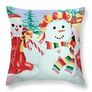 Snowgirls With Serape Scarf Throw Pillow