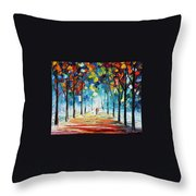 Snowing Alley Throw Pillow