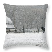 Snowing At The Round Barn Throw Pillow