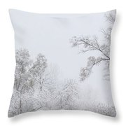 Snowing In A Starbucks Parking Lot Throw Pillow