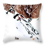 Snowing On The Bicycle Throw Pillow