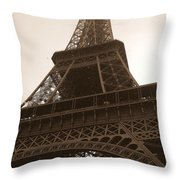 Snowing On The Eiffel Tower Throw Pillow