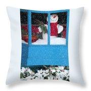 Snowman And Poinsettias - Frosty Christmas Throw Pillow
