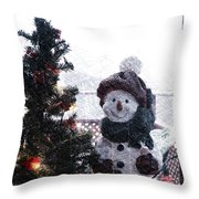 Snowman And Tree Pa Throw Pillow