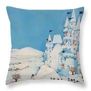 Snowman Castle Throw Pillow by Christian Kaempf