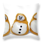Snowman Doughnuts Throw Pillow