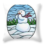 Snowman Flutist Throw Pillow