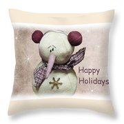 Snowman Greeting Card Throw Pillow