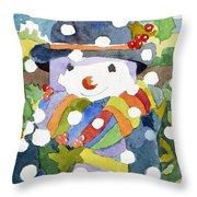 Snowman In Snow Throw Pillow
