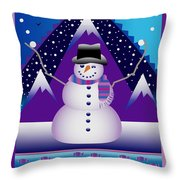 Snowman Juggler Throw Pillow