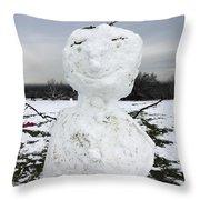 Snowman On Epsom Downs Surrey Uk Throw Pillow