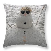 Snowman On The Beach Throw Pillow