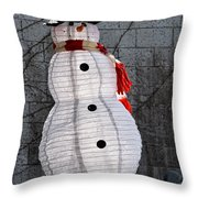 Snowman On The Roof Throw Pillow