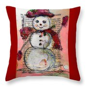 Snowman With Red Hat And Mistletoe Throw Pillow