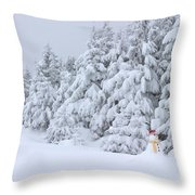 Snowmen In France Throw Pillow