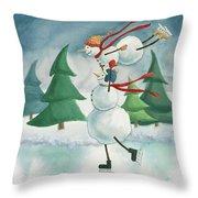 Snowmen Skating Throw Pillow