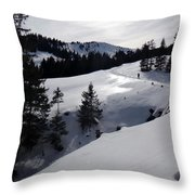 Snowshoeing Switzerland's La Berra Throw Pillow