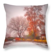 Snowstorm In The Japanese Gardens Throw Pillow