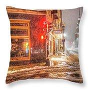 Snowstorm On Tremont Street Boston Ma Park Street Church Throw Pillow