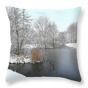 Chilled Scenery Around Frozen Canals Throw Pillow