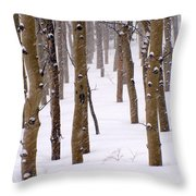 Snowy Aspen Throw Pillow