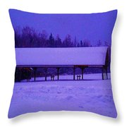 Snowy Barn  Throw Pillow