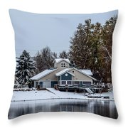 Snowy Boat House Throw Pillow