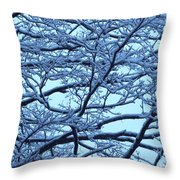 Snowy Branches Landscape Photograph Throw Pillow