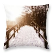 Snowy Bridge Throw Pillow by Wim Lanclus
