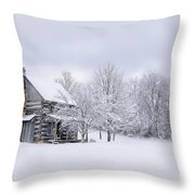Snowy Cabin Throw Pillow by Benanne Stiens