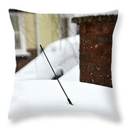 Snowy Car Aerial Throw Pillow