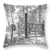 Snowy Cattle Gate Throw Pillow