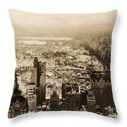 Snowy Central Park New York City Photograph Throw Pillow